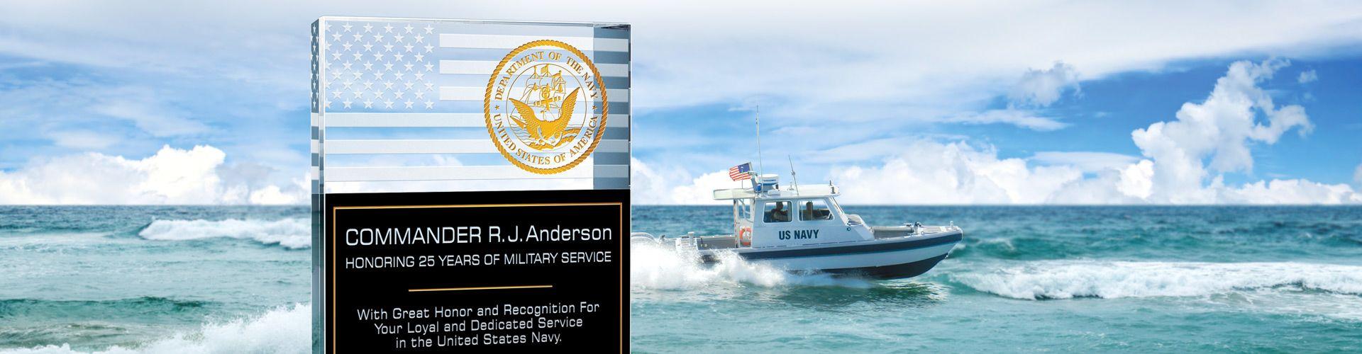 Buy Custom Crystal Plaques & Awards for Navy Members & Veterans - Banner 1