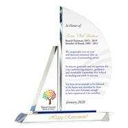 Crystal Sailboat Board of Director Retirement Gift Plaque